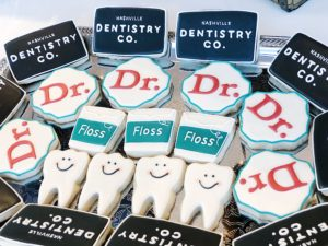 Nashville Dentistry Co branded floss and other goodies