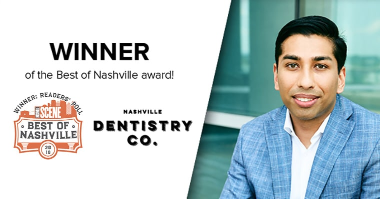 Nashville Dentist Dr. Ashish Patel with his Best of Award for 2018
