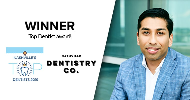 Brentwood Dentist Dr. Ashish Patel with his Top Dentist Award from 2019