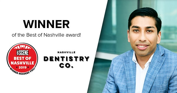 Dr. Ashish Patel with his Best Dentist in Nashville Award badge